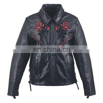 HMB-0292D WOMEN LEATHER JACKETS MOTORBIKE ROSE FASHION COATS