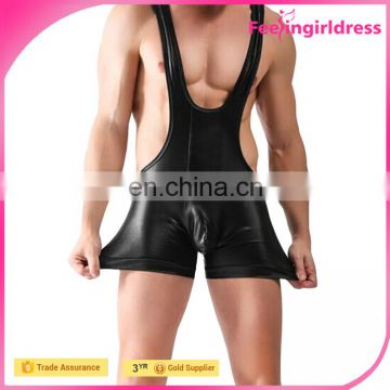 2016 Hot Black High Waist Men Singlet Weight Lifting Faux Leather Fabric Bodysuit