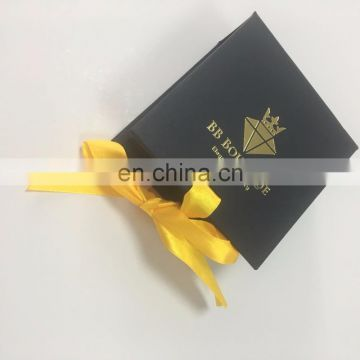 Luxury black book box with gold Ribbon Box For Jewelry Packing with hot staping logo
