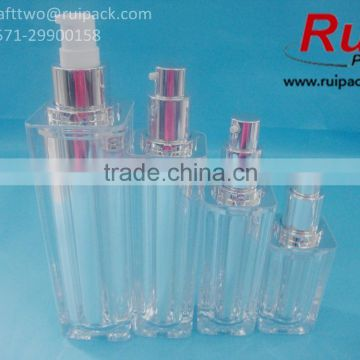 New! 15/30/50/100ml High quality square transparent silver acrylic bottles, two layers acrylic bottles for cosmetic packaging