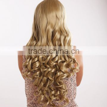 2015 New Design Golden Long Hair Women's curly hair chemical fiber wigs European Human Hair New Virgin Hair Ladies'Hair Weaving