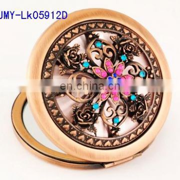 3D hollow decoration antique metal pocket makeup mirror