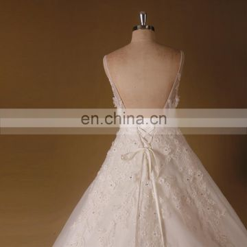 Joyous Style V Neck Handmade Flowers Beaded Lace A-Line Wedding Party Dress