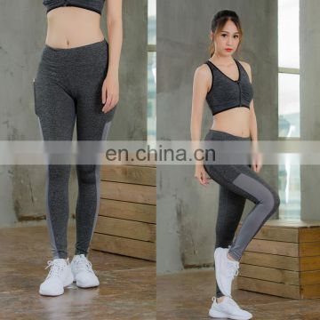 Elastic fitness yoga women's trousers side pockets running tight slim leggings