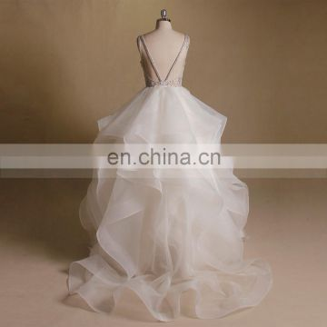 Fashionable Luxurious Beads Flowers On The Bodice V Sexy Back Ruffle Skirt Party Wedding Ball Gown
