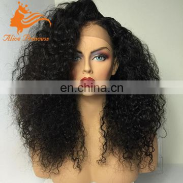 Mongolia Human Hair Kinky Curly Full Lace Wig Afro Kinky Curly Wig For Balck Woman