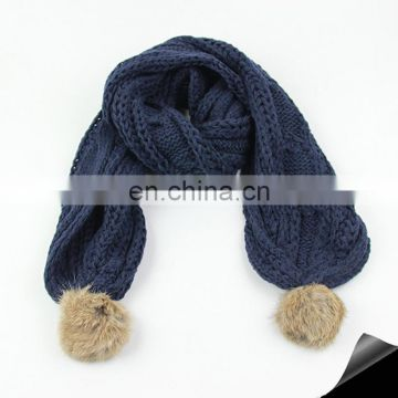 Fashion winter child knitted scarf rabbit fur pom pom crochet scarf