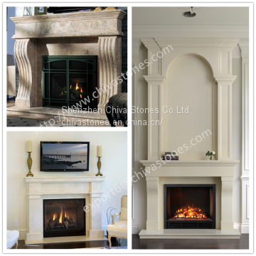 Ivory Beige Limestone Cameo Fireplace Surround Carved Marble Fireplace Stone Mantel With Overmentel Double Fireplace