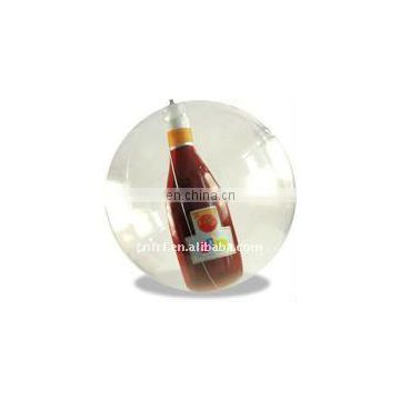 inflatable display transparent ball with 3D bottle inside