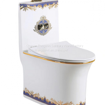 Bathroom Manufacturer Sanitary Ware One-piece Purple Toilet Bowl