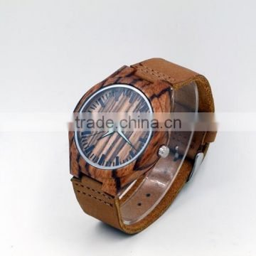 Cheap japanese miyota 2035 movement wooden wristwatches genuine leather watches bamboo wooden watches for women and men
