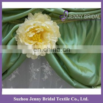 TC134A 2016 new fancy lace taffeta wedding cake table gathered table skirts