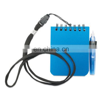 mini portable spiral binding 60pages notebook orgnizer with foldablepen and lanyard