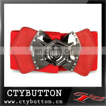 fashion red wide elastic belt for women