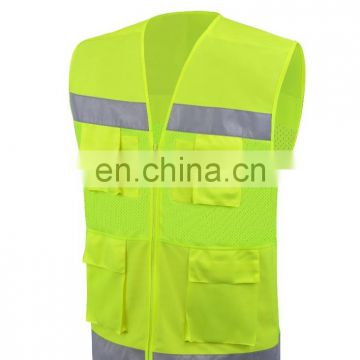 reflective vest yellow EN 20471 reflective safety vest for outdoor sports