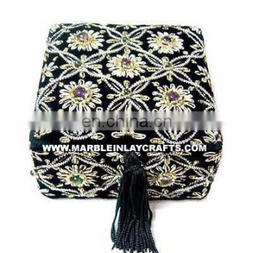 Black Home Decorative Hand Carved Zari Embroidery Box