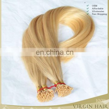 Top quality human blonde remy hair 1g/stand 100%unprocessed human hair mongolian i tip hair