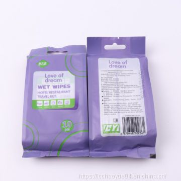 Individual Package Travel Hotel Restaurant wet wipes