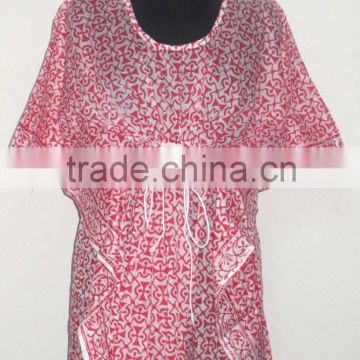 Hand Block Printed Women Casual Wear Kaftan Sexy Fashionable Maxi Dress Designer Beach Wear Poncho Kimono
