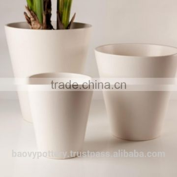 Glazed Indoor Planter in White, Set of 3.