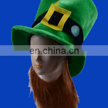 Hot selling irish shamrock hat with brown beard St. Patrick's Day Top Hat