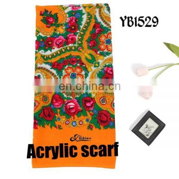 2016 Fashion Lady Scarf, Soft Acrylic Scarf, Printed Acrylic Hijab Factory, 100%Polyester square Scarf suit for woman