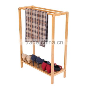 high quality new design bamboo multifunction clothes drying rack and shoes shoes display rack towel rack wholesale