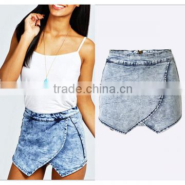 Wholesale 2016 Summer Fashion Woman Denim Jeans Skirt Pants Ladies Vogue New Design Zipper Back High Waist Shorts Women
