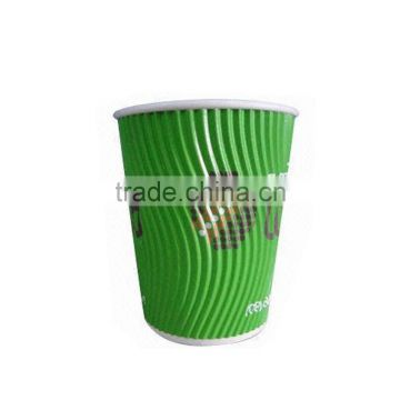 15oz 430ML Cheap Custom Printed Disposable costa ripple wall Paper Corrugated Cup for Coffee Drinks