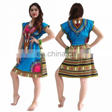 Mini Dress MJF African Dashiki Kaftan Boho Top Beach Bikini Cover Up Lady Blouse caftan Hippie Boho Dress Kimono Look Plus Size