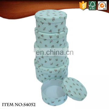 Set of 5 Round Fabric Packing Box