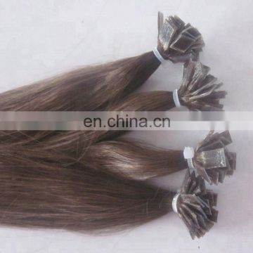 factory brown flat tip human hair extensions pre-bonded chinese hair extensions