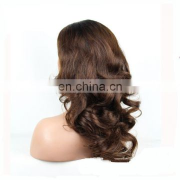 full lace wigs with bangs remy peruvian hair body wave brown color human hair