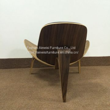 Nicer Furniture Hans Wegner Shell Chair in Walnut Finish with Italian Genuine Black Leather