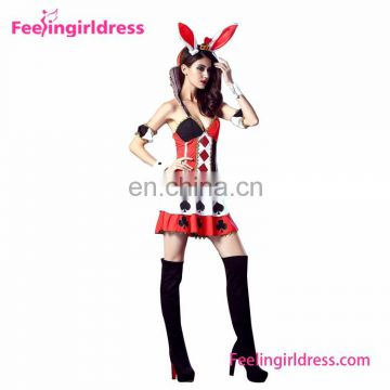 Sexy Rabbit Black Red Printed Girls Halloween Costumes