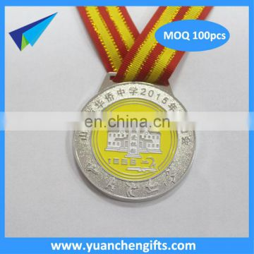 2016 cheap wholesale custom marathon sport metal medal with ribbon