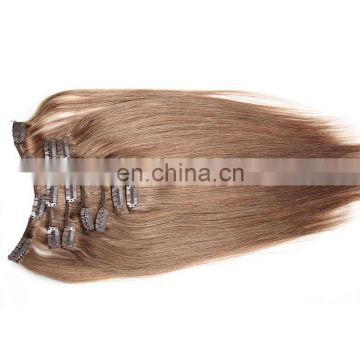 7pcs color 18 100% remy indian human hair hair clip in hair extensions