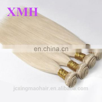 High Quality Wholesale price #60 platinum blonde straight double weft russian human hair