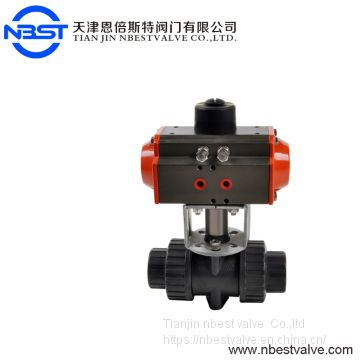 DN15-DN100 Pneumatic actuators 2 inch pvc upvc union ball valve