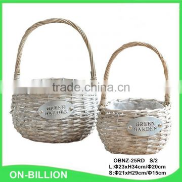 Wicker material decorative flower baskets with plastic liner