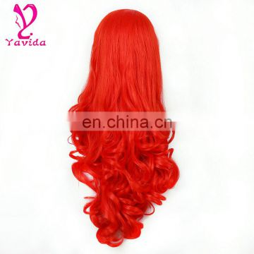 Full Head Black Purple Fuchsia Color Ombre Wig Woman Long Wavy Colored Heat Resistant Synthetic Hair Cosplay Wig