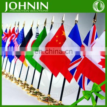high quality advertising usage national table flag with iron stand