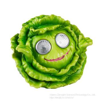 Resin solar lamp garden decoration Broccoli/Potatoes/Lettuce resin crafts garden decoration mouth