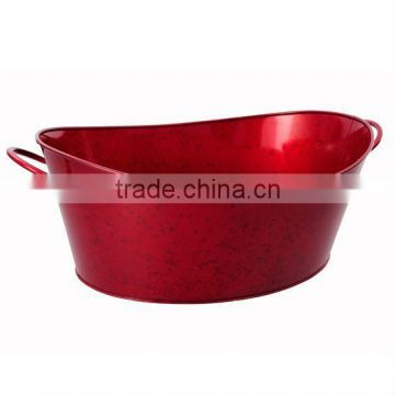 Red Galvanized steel ice bucket