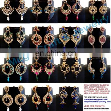 Indian Wholesale Chandelier Earring-Victorian Style Chandelier Earring-CZ stone Earring-Fashion wear Earring wholesale