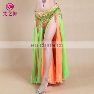 Chiffon Arab two layers sexy slit women belly dance long dress Q-6042