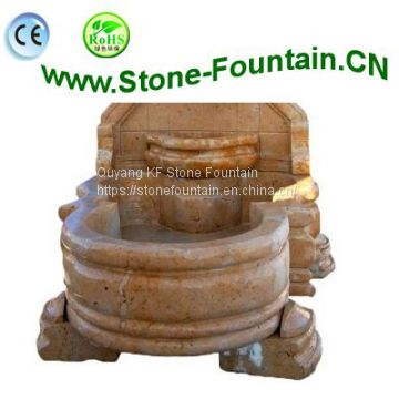 Lion Head Marble Carvings Statues Wall Fountain