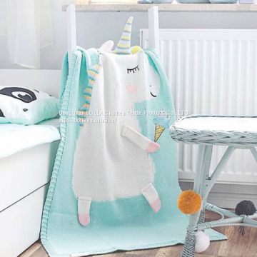 Flamingo Unicorn Child Knitted Blanket Home Soft Leisure Baby Blanket
