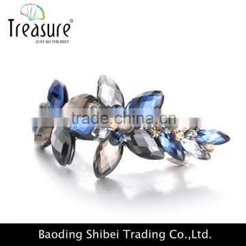 fashion jewelry Multi-color crystal Flowers shape cute barrettes bridal hair accessories hair barrette