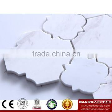 IMARK Water Jet Interior Design Volakas Marble Stone Mosaic Backsplash Wall Tile For Kitchen Wall Decoration